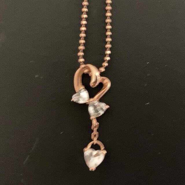 4℃(ヨンドシー)のハート ピンクゴールド PG  揺れるネックレス ホワイトトパーズ レディースのアクセサリー(ネックレス)の商品写真