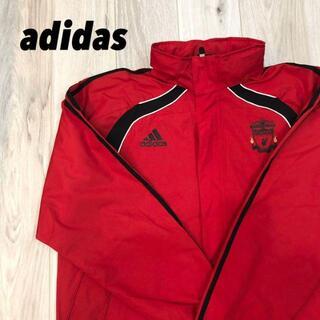 アディダス(adidas)の【美品】adidas 赤 フード付き バックロゴ(ナイロンジャケット)