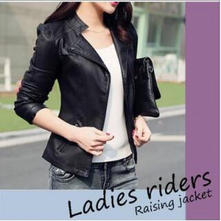 黒 レディース アウター ライダース Mサイズジャケット 細見え 合皮ジャケット(ライダースジャケット)