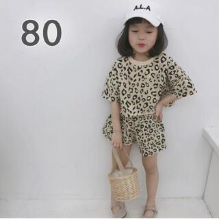 アニマル柄 セットアップ 80 半袖 ズボン ヒョウ柄 ベージュ 女の子 韓国(その他)