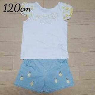 ANNA SUI mini - アナスイミニ ロゴねじり袖Tシャツ パイナップル刺繍ショートパンツ 120cm