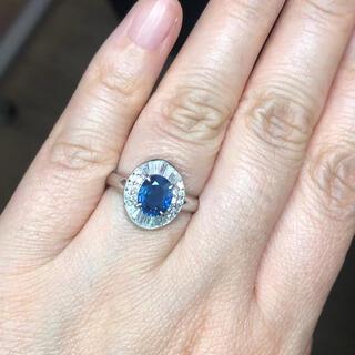 天然 ブルーサファイア ダイヤ リング1.58ct pt900 r(リング(指輪))
