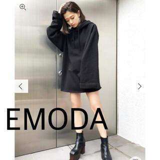 EMODA - 【新品】EMODA ワイドスリーブパーカーワンピース 黒