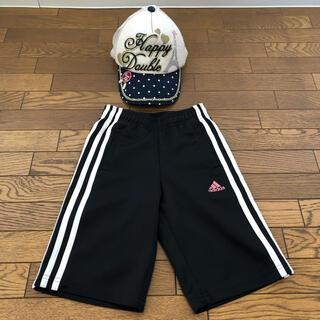 アディダス(adidas)のアディダスハーフパンツ 120cm 黒色 ジュニア レディース 夏用メッシュ帽子(パンツ/スパッツ)