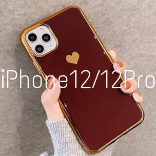 メタリック ハート iPhoneケース iPhone12/12Pro レッド