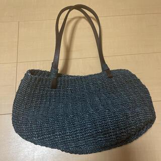 かごバッグ 藍色 定価8000円くらい(かごバッグ/ストローバッグ)