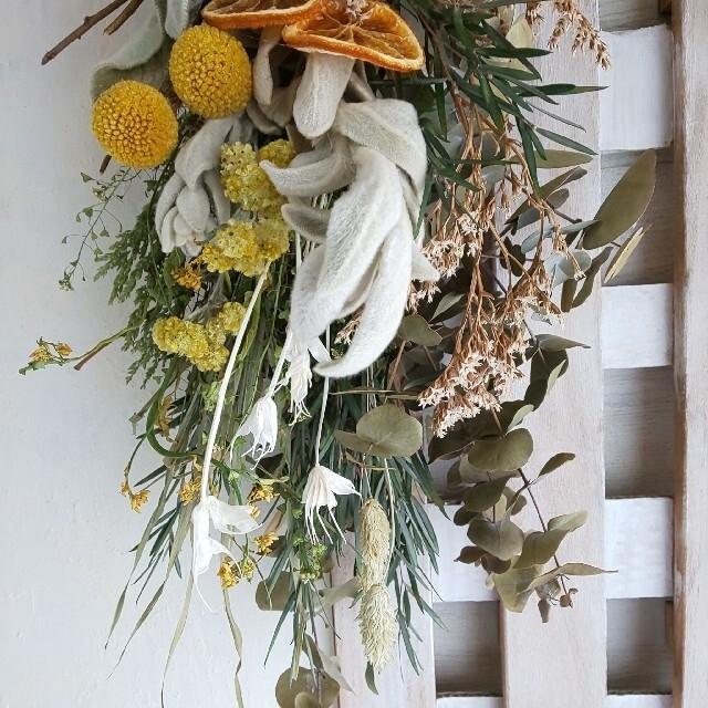 *オレンジ&ラムズイヤー  ドライフラワースワッグ ハンドメイドのフラワー/ガーデン(ドライフラワー)の商品写真