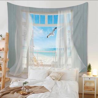 オシャレタペストリー 壁掛け 金具付き インテリア 窓 青空 カモメ 海