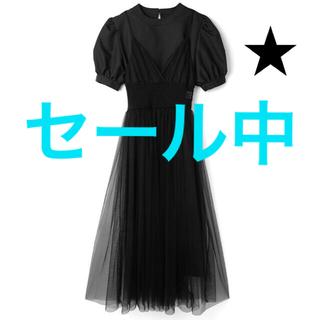 GRL - 【本日限定価格】パフスリーブワンピース×チュールキャミワンピースセット ブラック