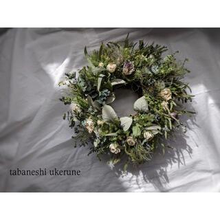 アンティークホワイトのミニ薔薇を添えた 可憐な雰囲気の リース ドライフラワー(ドライフラワー)