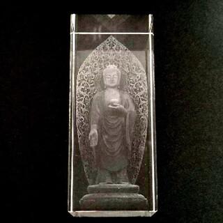 阿弥陀如来クリスタルガラス3Dレーザー彫刻(置物)
