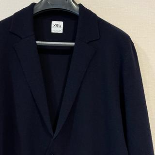 ザラ(ZARA)のZara ニットジャケット 大き目L とにかく楽 着心地良し ウール混 ネイビー(テーラードジャケット)