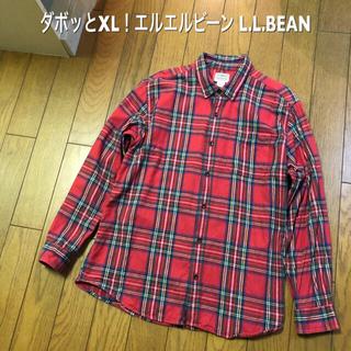 エルエルビーン(L.L.Bean)の大きめXL!L.L.BEAN エルエルビーン古着長袖ネルチェックボタンダウン(シャツ)