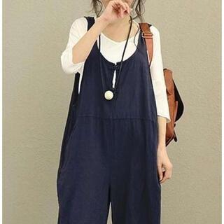⭐︎新品⭐︎ サロペット オールインワン 大きいサイズ マタニティ【紺 L】(オールインワン)