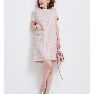 Drawer - obli オブリ ツイードワンピース ワンピース ピンク
