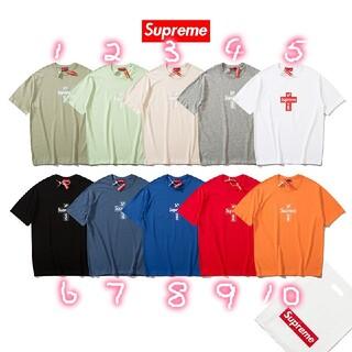 新品 10色入 シュプリーム/1201シンプルTシャツ半袖男女兼用(Tシャツ/カットソー(半袖/袖なし))