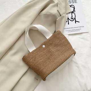 かわいい 編み込み バック トートバッグ ブラウン シンプル(かごバッグ/ストローバッグ)