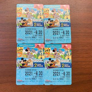 ディズニー(Disney)のディズニーリゾートライン フリー切符 2DAY 大人 未使用 4枚(鉄道乗車券)