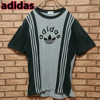 アディダス(adidas)のadidas デサント製 AA品番 袖 ライン トレフォイル ロゴ Tシャツ(Tシャツ/カットソー(半袖/袖なし))