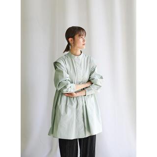 【春服】美品/スタンドカラーフロントタブデザインシャツ