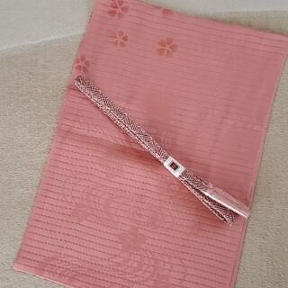 夏用 絽 正絹帯締め帯揚げセット 新品未使用(和装小物)