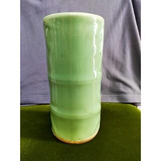 昭和レトロ 花瓶 花器 薄緑色 陶器