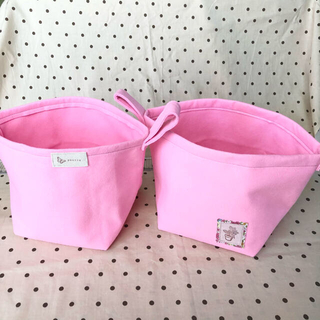 フェルト鉢 2個セット ピンク 取手付き(プランター)