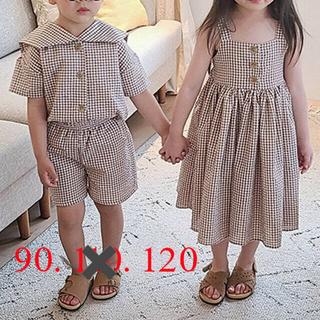 *韓国子供服 ✳︎ ギンガムチェック ワンピース ドレス キッズワンピース 90(ワンピース)
