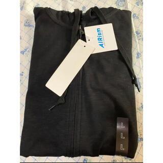 ユニクロ(UNIQLO)のユニクロ エアリズムUVカットフルジップパーカー 長袖 黒 サイズL タグあり(パーカー)