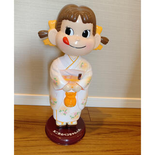 不二家 - ペコちゃん首振り人形 着物 晴れ着 黄色 イエロー  オレンジ