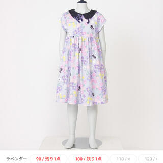 ANNA SUI mini - アナスイミニ ネコ衿花柄プリントカットワンピース