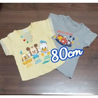 ディズニー(Disney)の【Disney】ミッキープリントTシャツ80cm(Tシャツ)