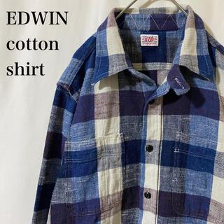 エドウィン(EDWIN)の★ コットンシャツ チェック チンスト付き EDWIN パープル ブルー(シャツ)