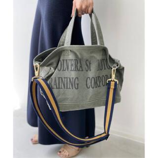 L'Appartement DEUXIEME CLASSE - Graphic Tote Bag カーキ & Border belt ネイビー