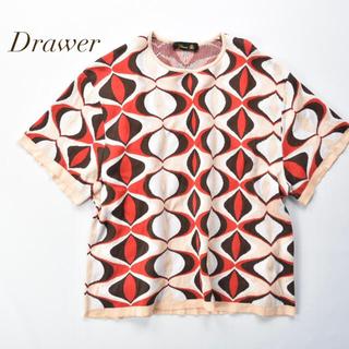 Drawer - Drawer ドゥロワー 上質コットンシルク 総柄ニット プルオーバー