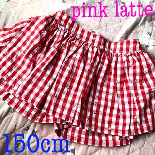 ピンクラテ(PINK-latte)のピンクラテ pink latte インナーパンツ付きスカート 150cm 新品(スカート)