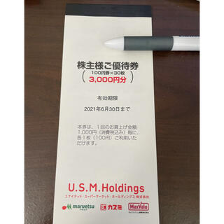 イオン(AEON)のユナイテッドスーパーマーケット株主優待券  3000円分(ショッピング)