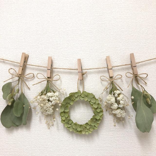 紫陽花リースのガーランド♡ドライフラワーガーランド ハンドメイドのフラワー/ガーデン(ドライフラワー)の商品写真