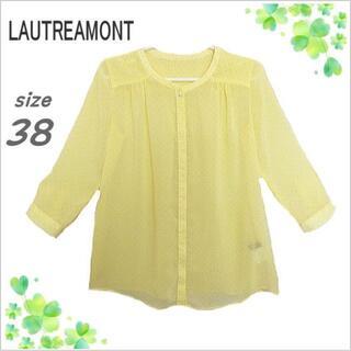LAUTREAMONT - 【ロートレアモン】黄色総柄ノーカラーシースルー七分袖ブラウス*日本製*38