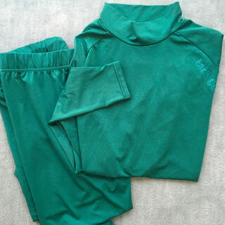 サッカー フットサル アンダーシャツ上下セット 緑 L(ウェア)