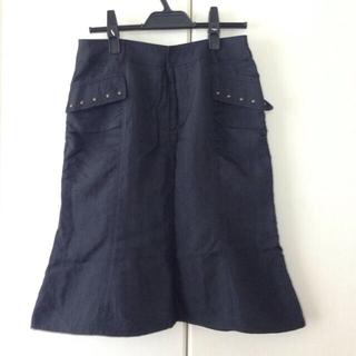 コムサイズム(COMME CA ISM)の膝丈スカート Lサイズ ネイビー(ひざ丈スカート)