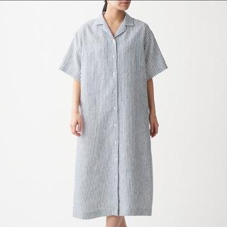 MUJI (無印良品) - MUJI(無印良品)フレンチリネン洗いざらし五分袖開襟ワンピース