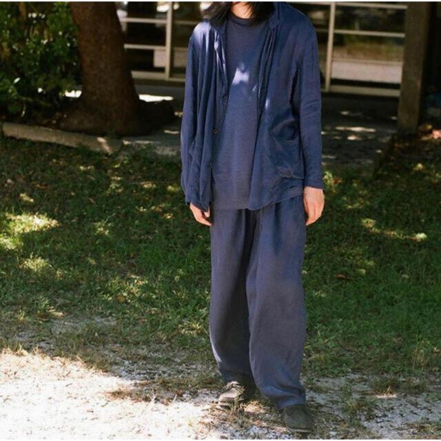 COMOLI(コモリ)のCOMOLI 21SS リネンWクロスジャケット charcoal  size2 メンズのジャケット/アウター(Gジャン/デニムジャケット)の商品写真