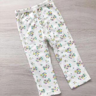 ニシマツヤ(西松屋)の新品 女の子 ベビー キッズ 花柄 レギンス パンツ 80 グレー ワッフル生地(パンツ)