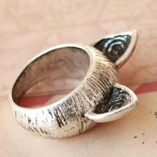 海外 猫耳 シルバー アンティーク リング 12号(リング(指輪))