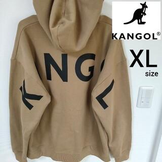 カンゴール(KANGOL)のKANGOL ベージュ ビックロゴ バックプリント プルオーバーパーカー XL(パーカー)