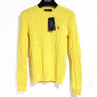 ラルフローレン(Ralph Lauren)の新品 ポロ ラルフローレン ケーブル ニット コットン イエロー S 黄色(ニット/セーター)