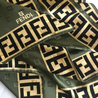 FENDI - フェンディ シルクスカーフ Z ★未使用★カーキ系ズッカ♪