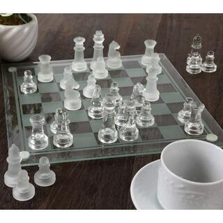 チェス クリスタル クリア フロスト 駒 ガラス製(オセロ/チェス)