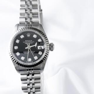 ROLEX - 【保証書付】ロレックス 10P 新ダイヤ 黒文字盤 レディース 腕時計